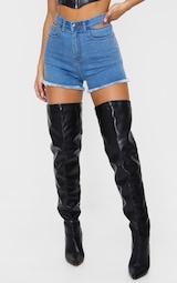 Mid Blue Wash Cut Out Waist Disco Shorts 2