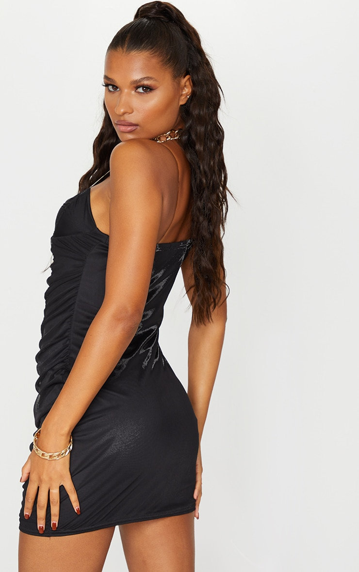 Black Mesh Ruched Cup Detail Clear Strap Bodycon Dress 2