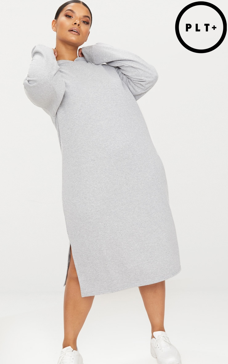 Plus Grey Marl Midi Sweater Dress 1