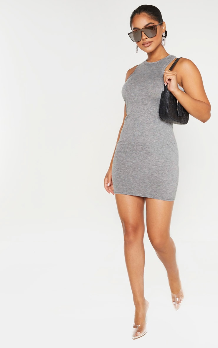 Petite Grey Marl Racer Neck Mini Dress  4