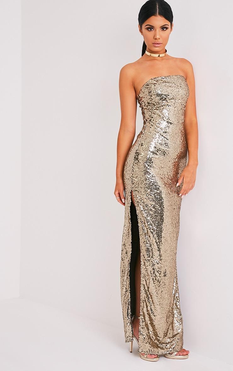 Kathie Gold Bandeau Sequin Maxi Dress 5