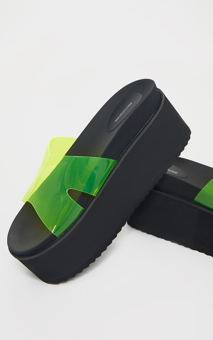 Lime Jelly Strap Mule Flatforms 4