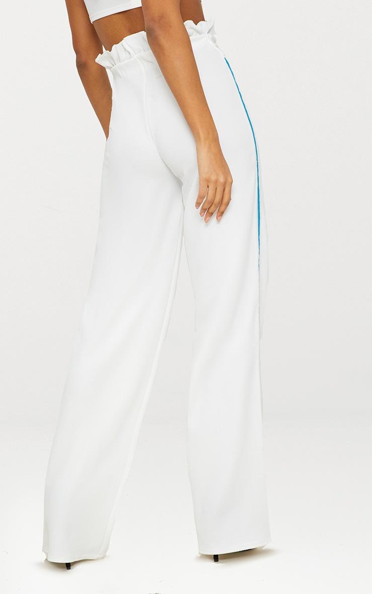 Cream Sport Stripe Paperbag Wide Leg Trouser 3