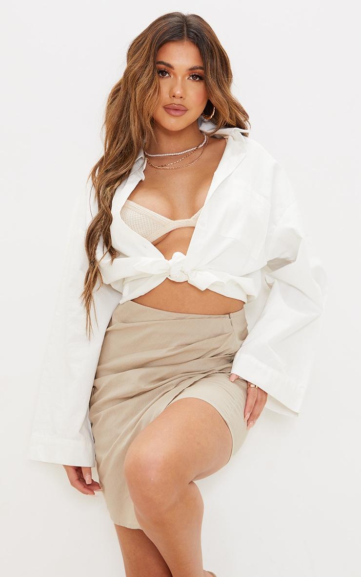 Taupe Pleated Linen Look Mini Skirt 4
