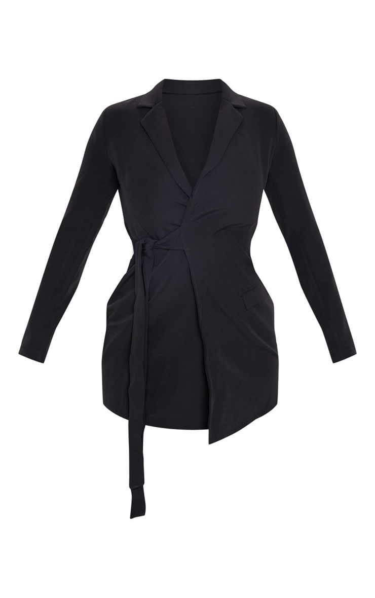 Black Tie Detail Blazer Dress 3