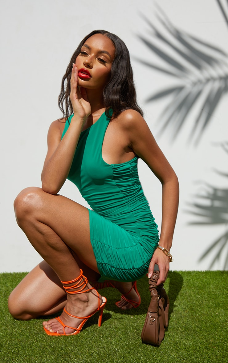 Green Slinky Racer Neck Ruched Side Bodycon Dress 1