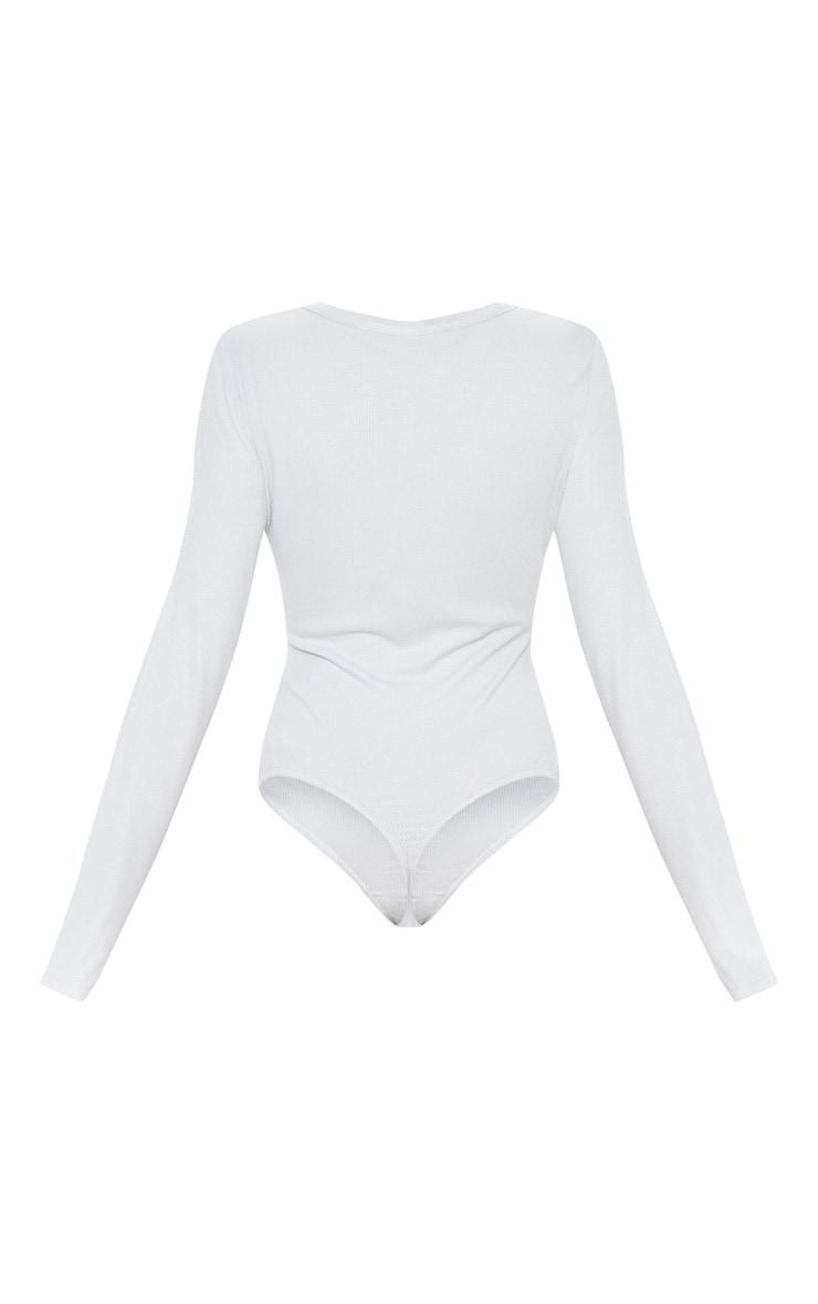 Grey Long Sleeve Popper Detail Thong Bodysuit 4