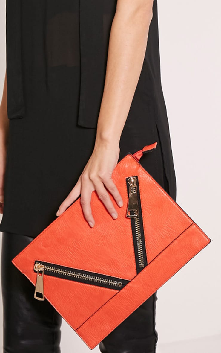 Tay Coral Zip Detail Clutch Bag 2