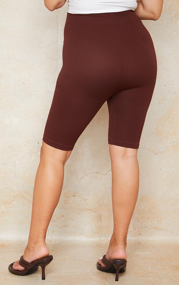 Maternity  Dark Brown Contour Ribbed Bump Support Bike Shorts 3
