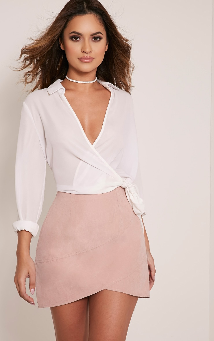 Bexley Blush Wrap Hem Faux Suede Mini Skirt 1