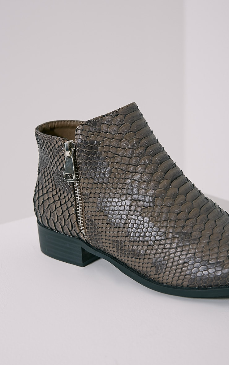 Grey Croc Effect Low Ankle Boots 6