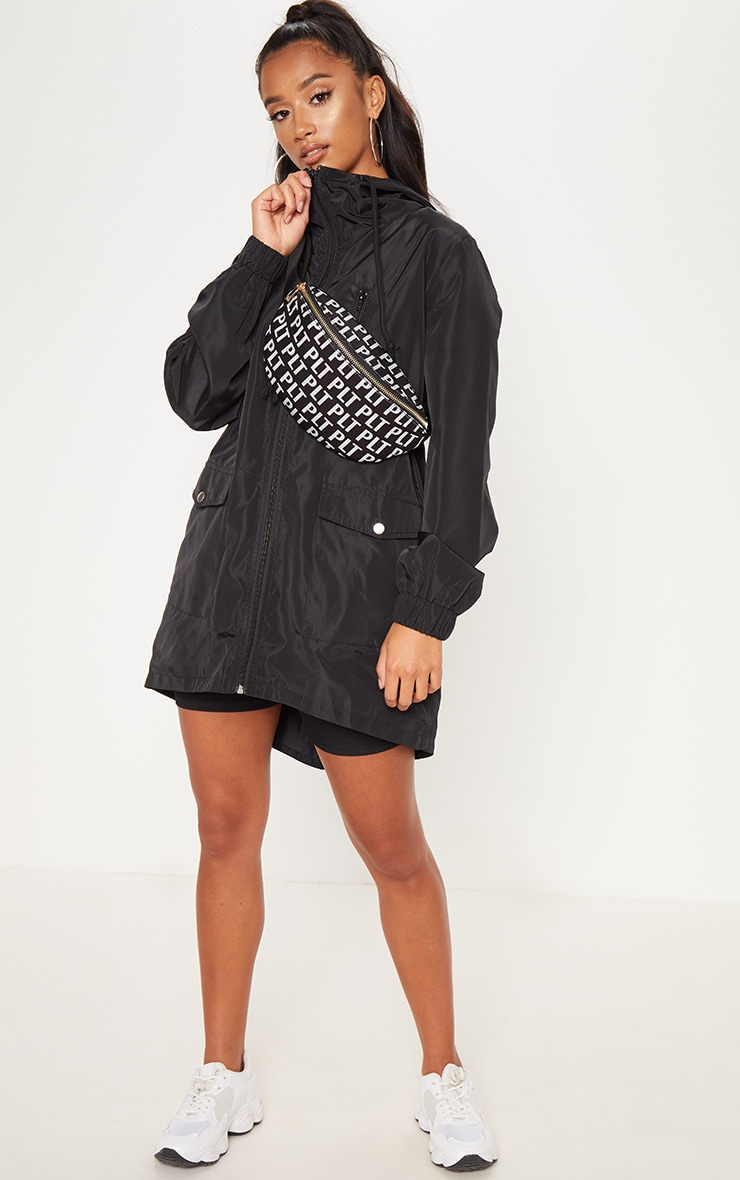 Petite Black Hooded Rain Coat  4