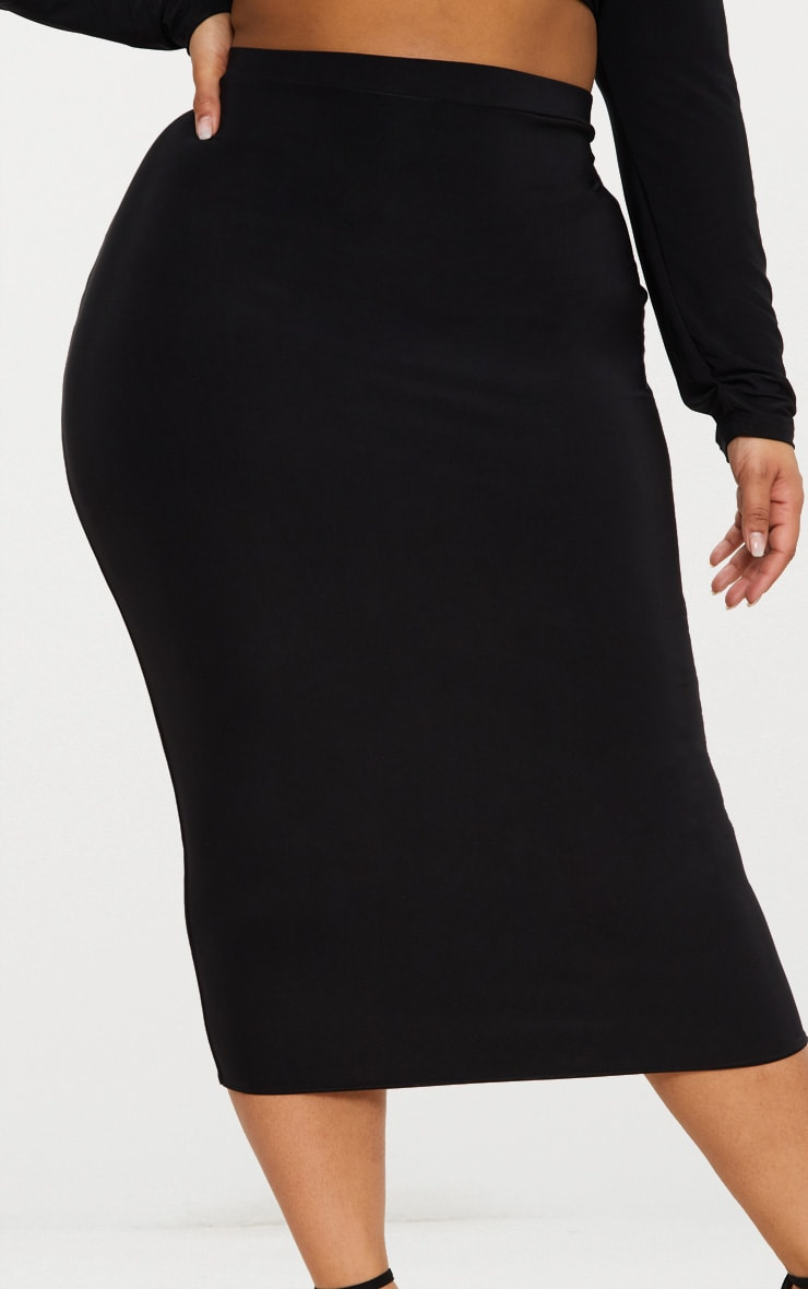 Plus Black Slinky Midi Skirt 5