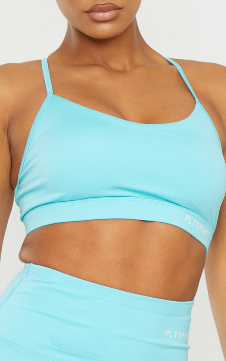 Recycled Blue Fabric Medium Support Strappy Back Sports Bra 4