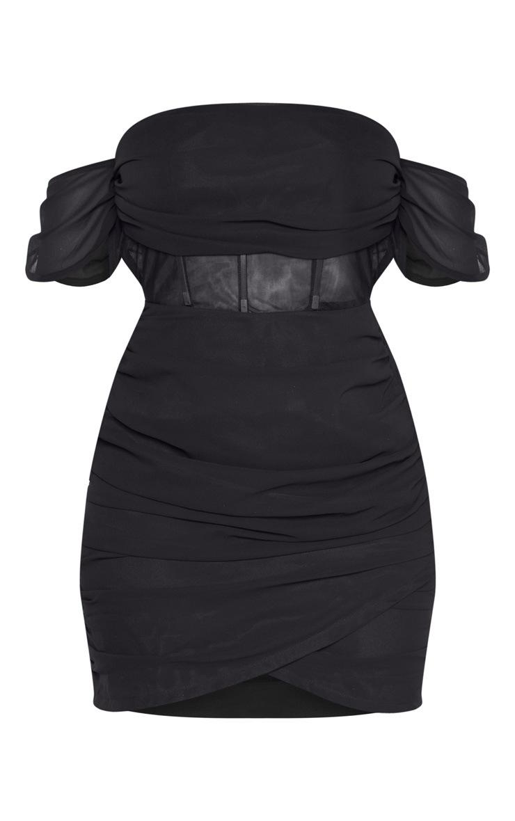 Robe moulante noire à empiècements mousseline de soie 3