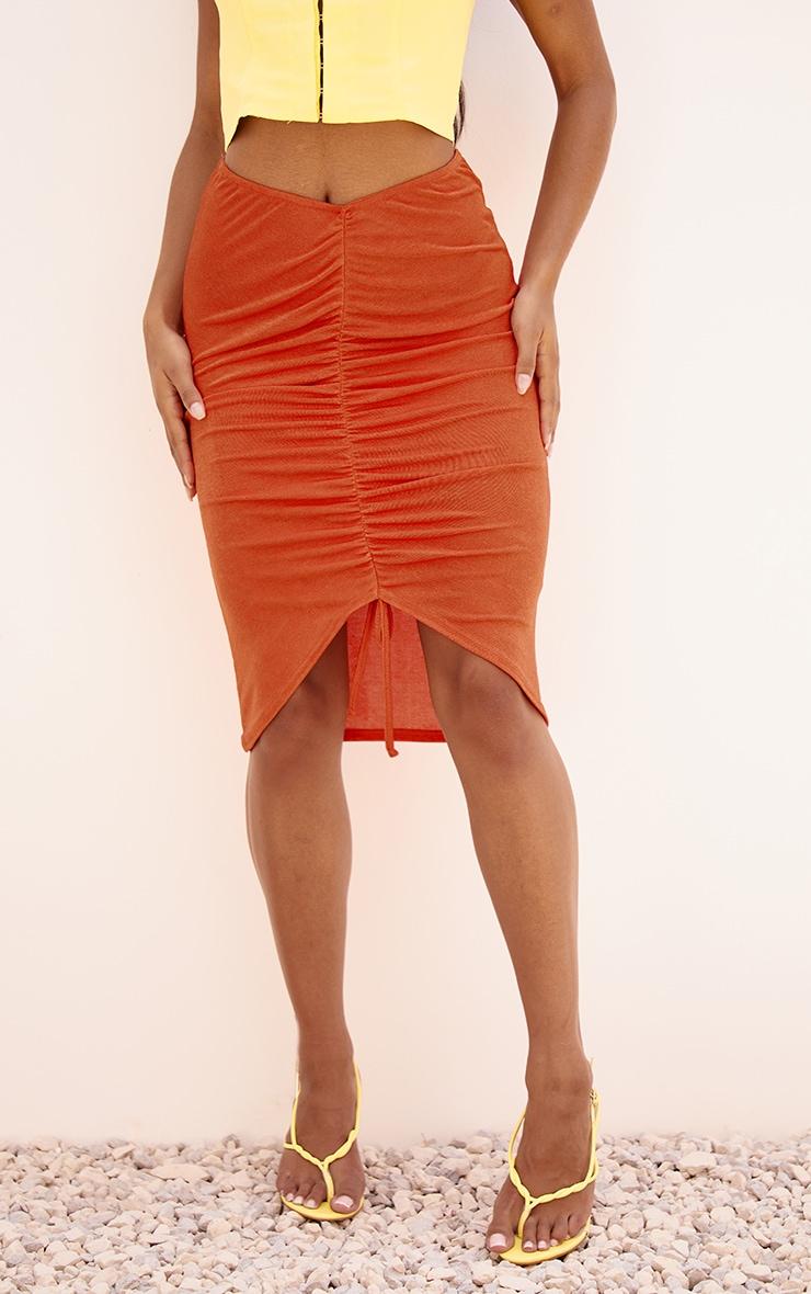 Orange Acetate Slinky V Front Ruched Midi Skirt 2
