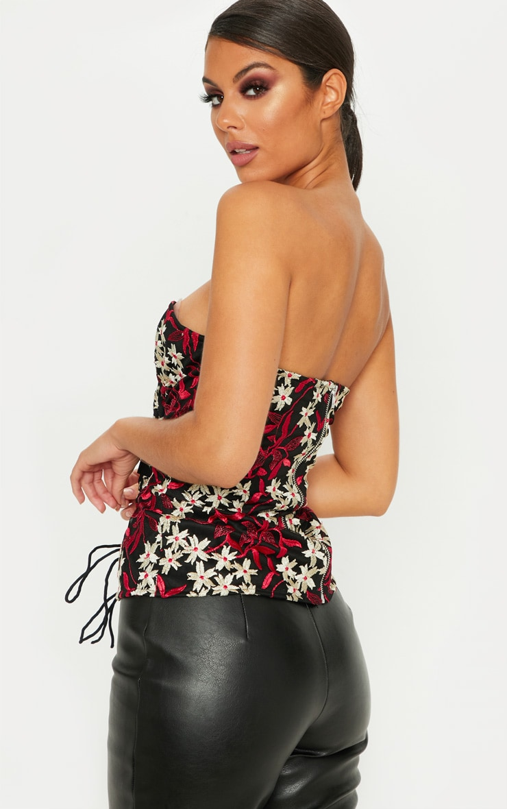 Black Embroidered Lace Up Corset Top 2