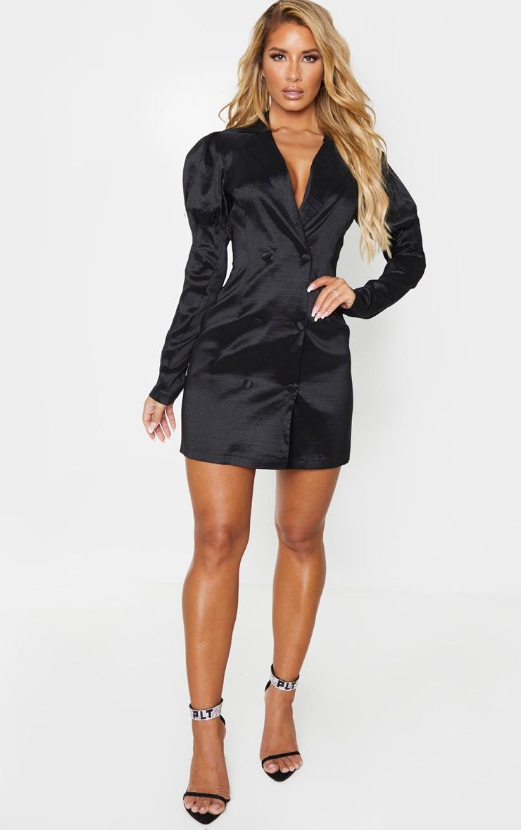 Black Woven Puff Sleeve Blazer Dress 3