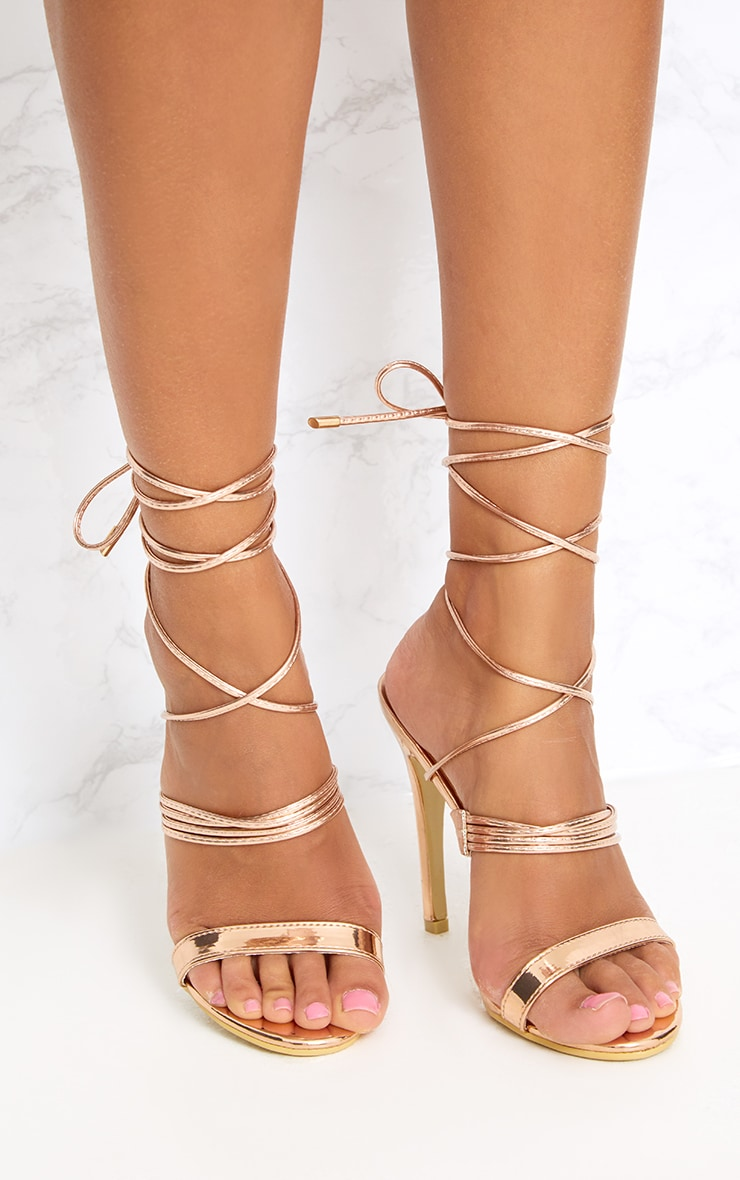 Rose Gold Thin Strappy Lace Up Heels 1