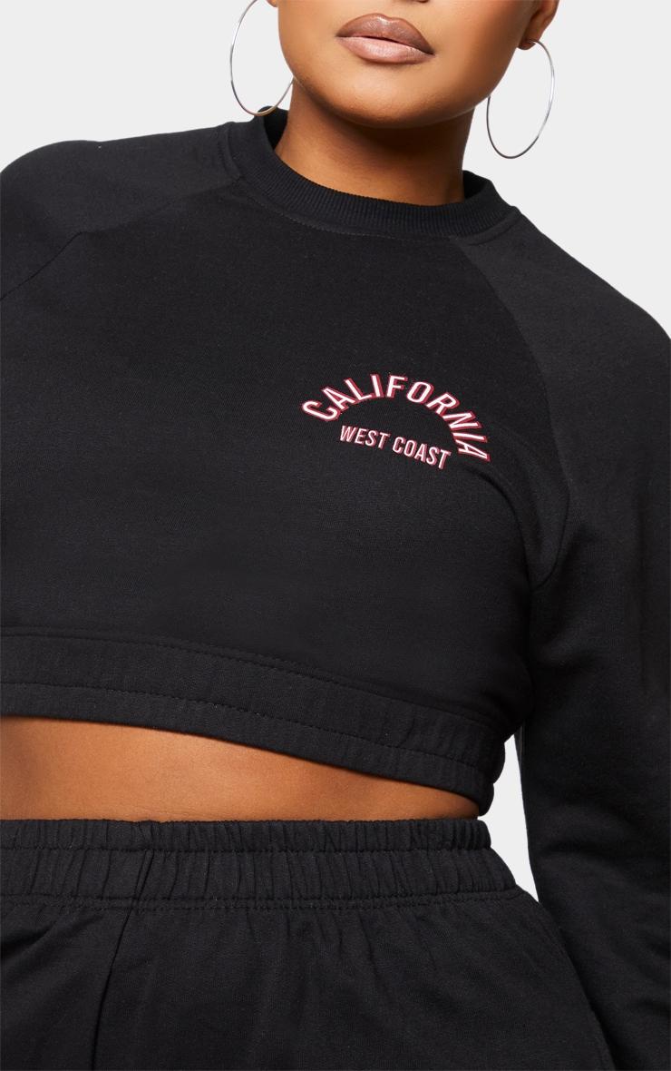 Plus Black California Cropped Sweatshirt 4