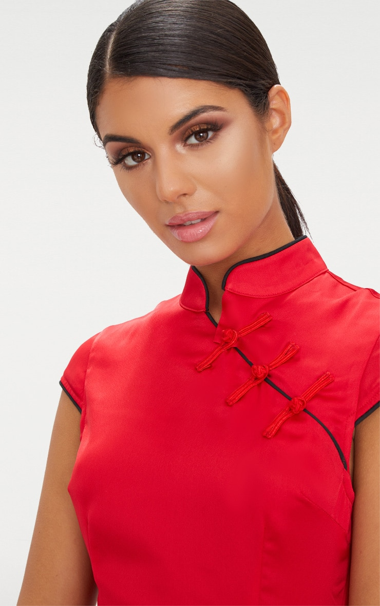 Red Satin Oriental Bodycon Dress 5