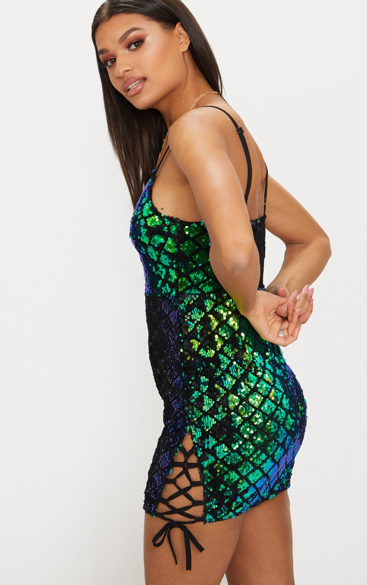 Green Sequin Lace Side Bodycon Dress  2