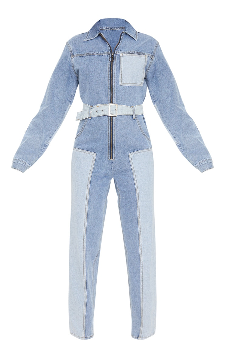 Mid Blue Wash Two Tone Oversized Belted Denim Boilersuit 3