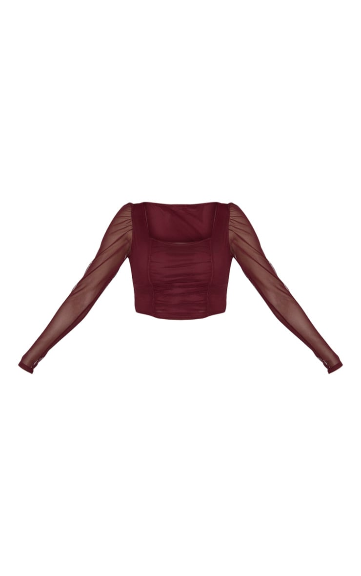 Tall Burgundy Square Neck Mesh Ruched Long Sleeve Crop Top 3