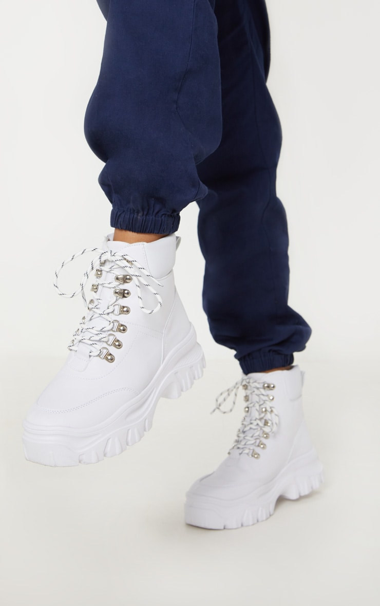 White Flatform Chunky Hiker Boot Sneakers 2