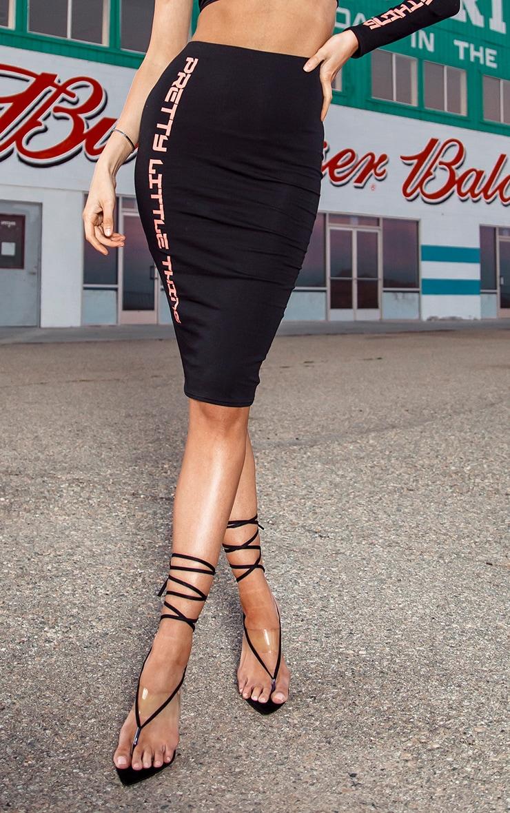 PRETTYLITTLETHING Tall Black Midi Skirt 2