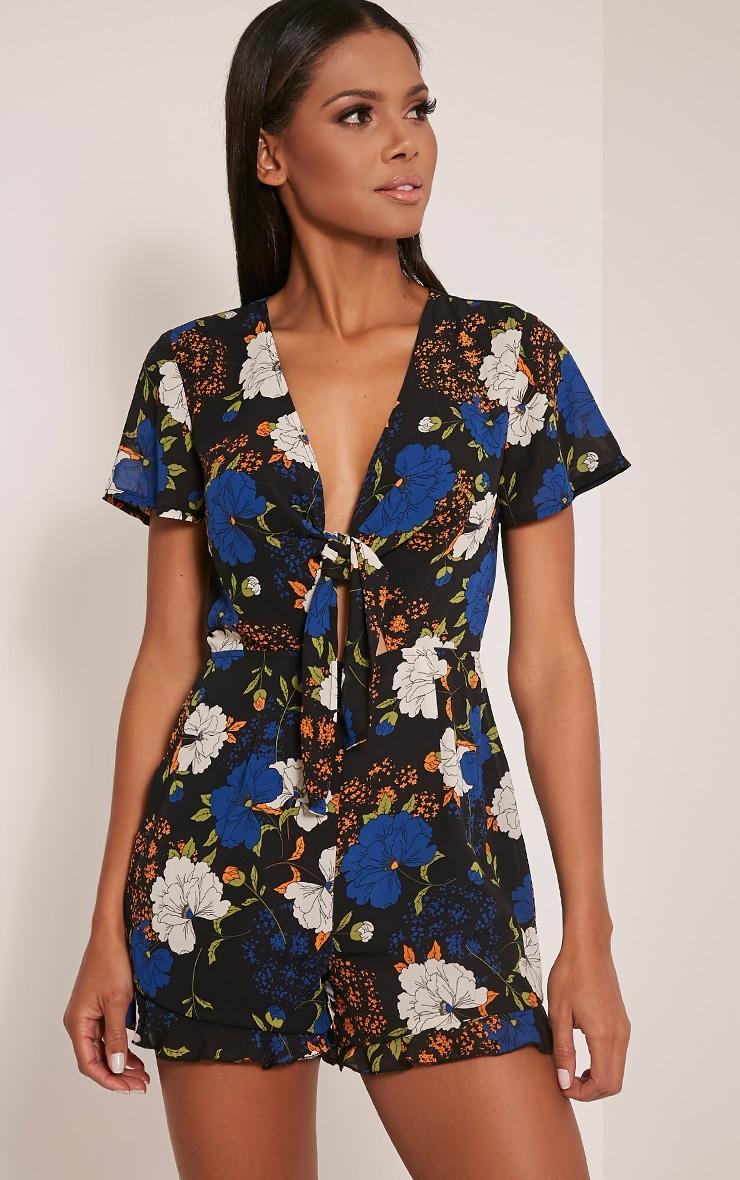 045748d1560 Chia Black Floral Print Tie Front Romper image 1