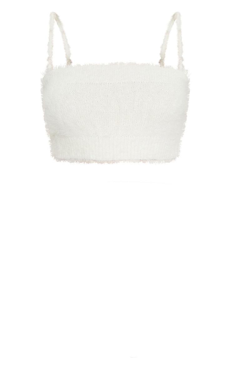 Cream Eyelash Knit Cropped Cami 5