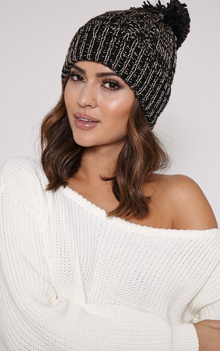 Karli Black And Gold Knitted Bobble Hat 1