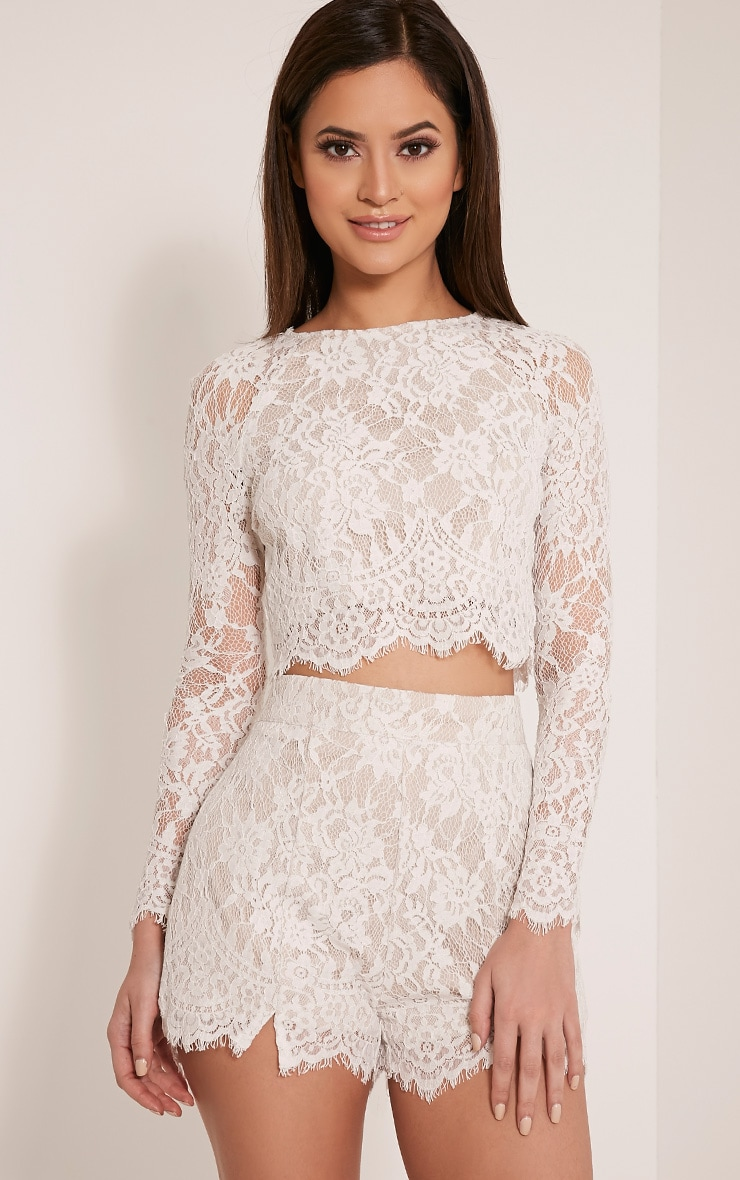 Ellena White Lace Long Sleeve Crop Top 1
