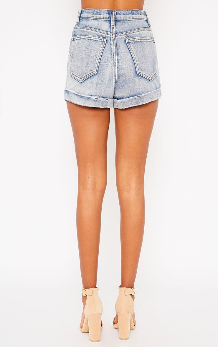 Beau Blue Turn Up Denim Shorts 4
