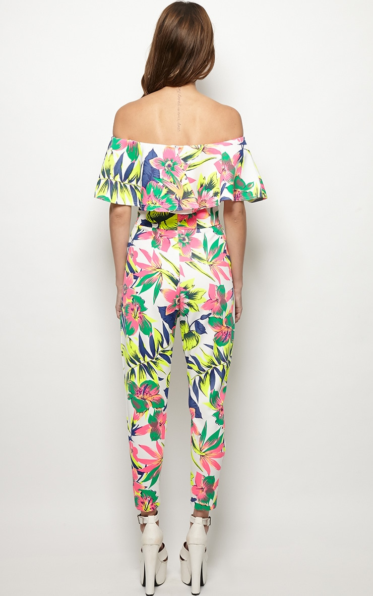 Skye Neon Tropical Print Frill Jumpsuit 2