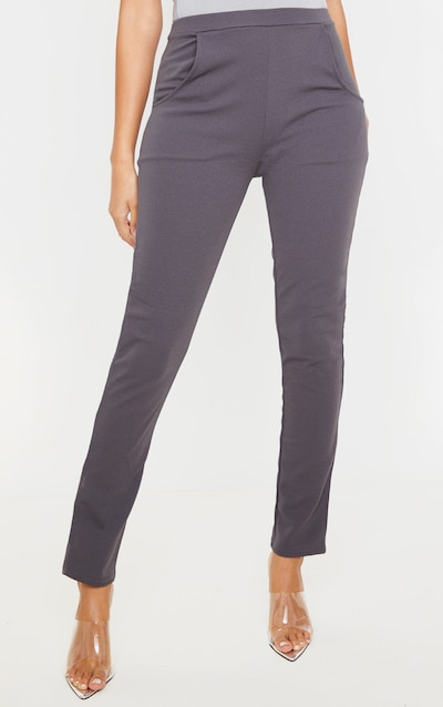 Charcoal Crepe Skinny Trousers
