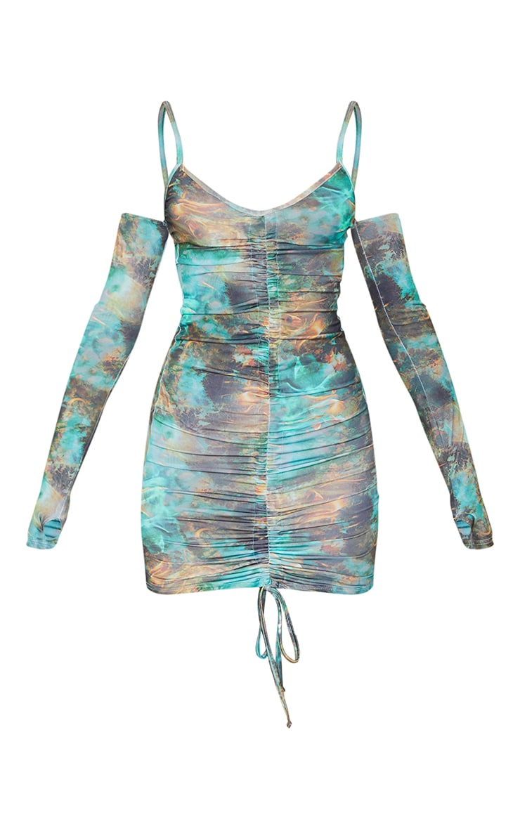 Green Tie Dye Flame Print Slinky Thumb Hole Ruched Bodycon Dress 5