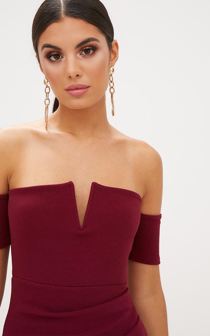 Burgundy Bardot Wrap Front Bodycon Dress  5