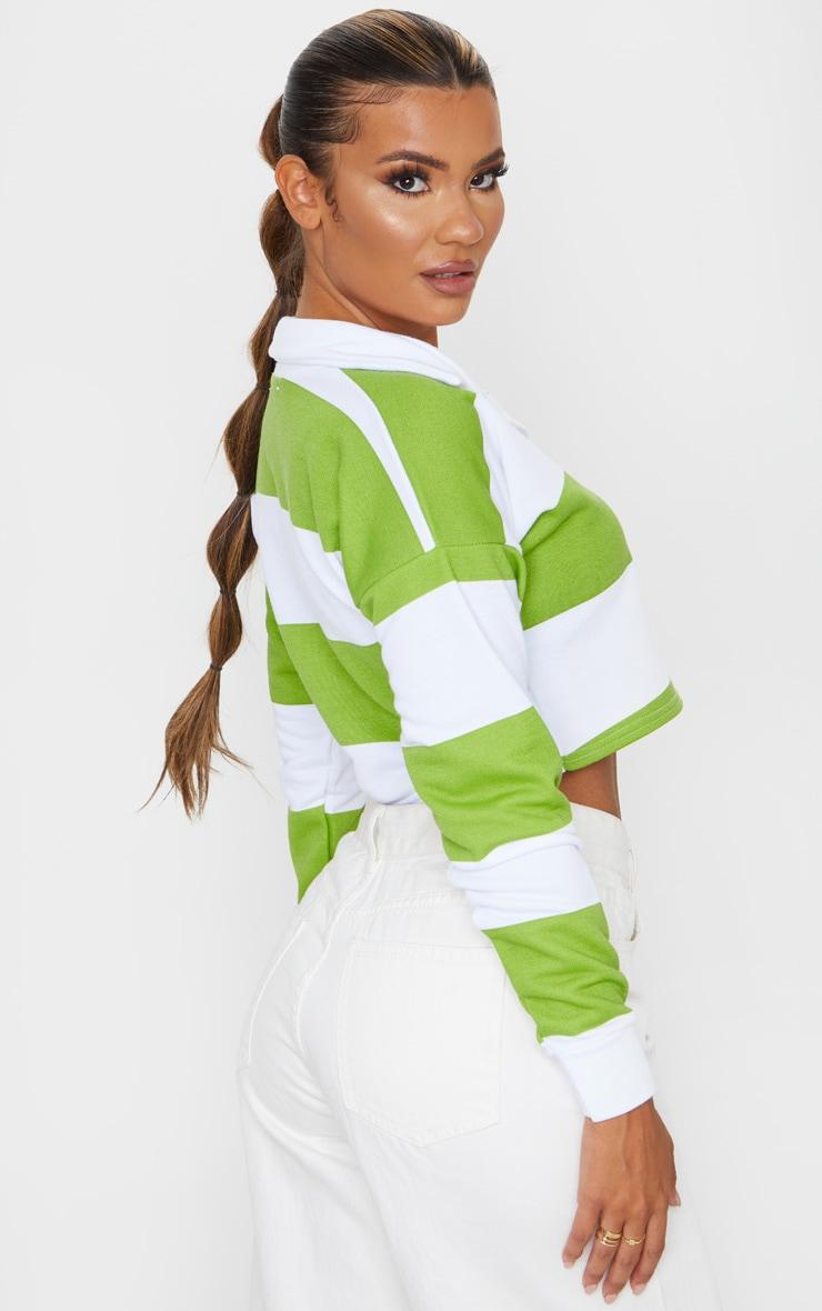 Lime Stripe Collar Polo Long Sleeve Crop Top 2