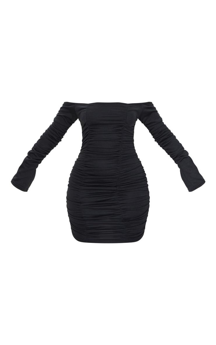 Black Bardot Ruched Sweater Dress 5