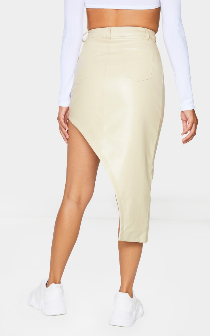 Cream Faux Leather Asymmetric Midi Skirt 3