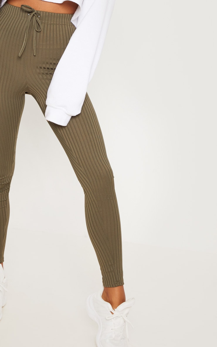 Khaki Ribbed Tie Detail Legging 5