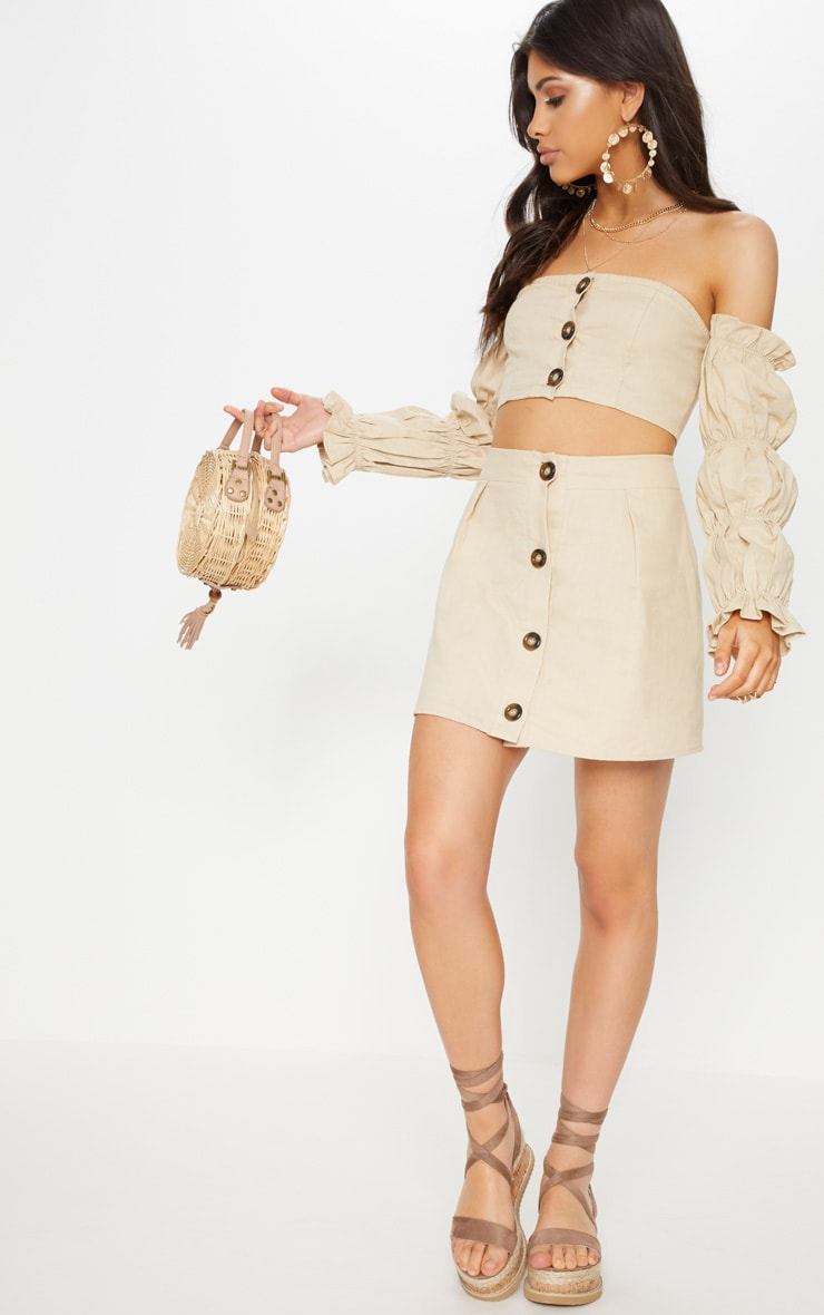 Stone Cotton Button Detail Mini Skirt 5