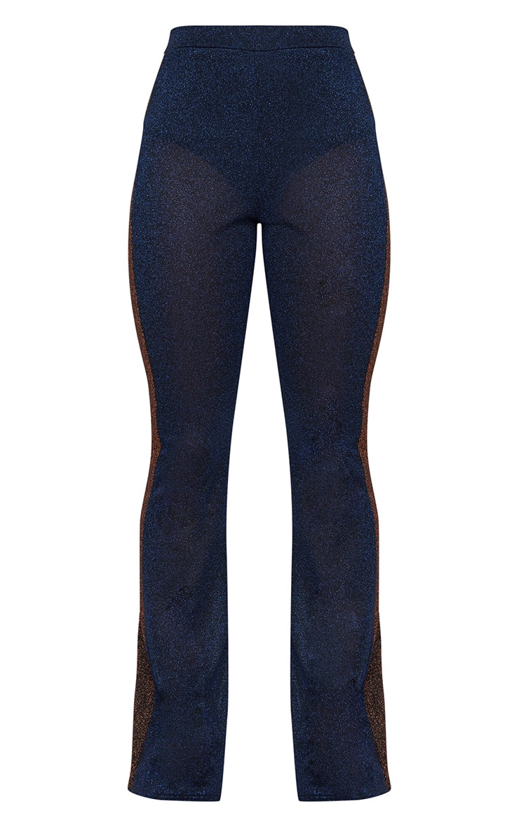 Navy Metallic Contrast Panel Sheer Flared Trousers 3