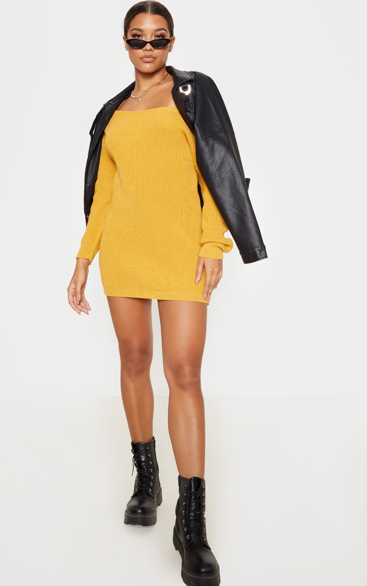 Mustard Off The Shoulder Knitted Dress 4