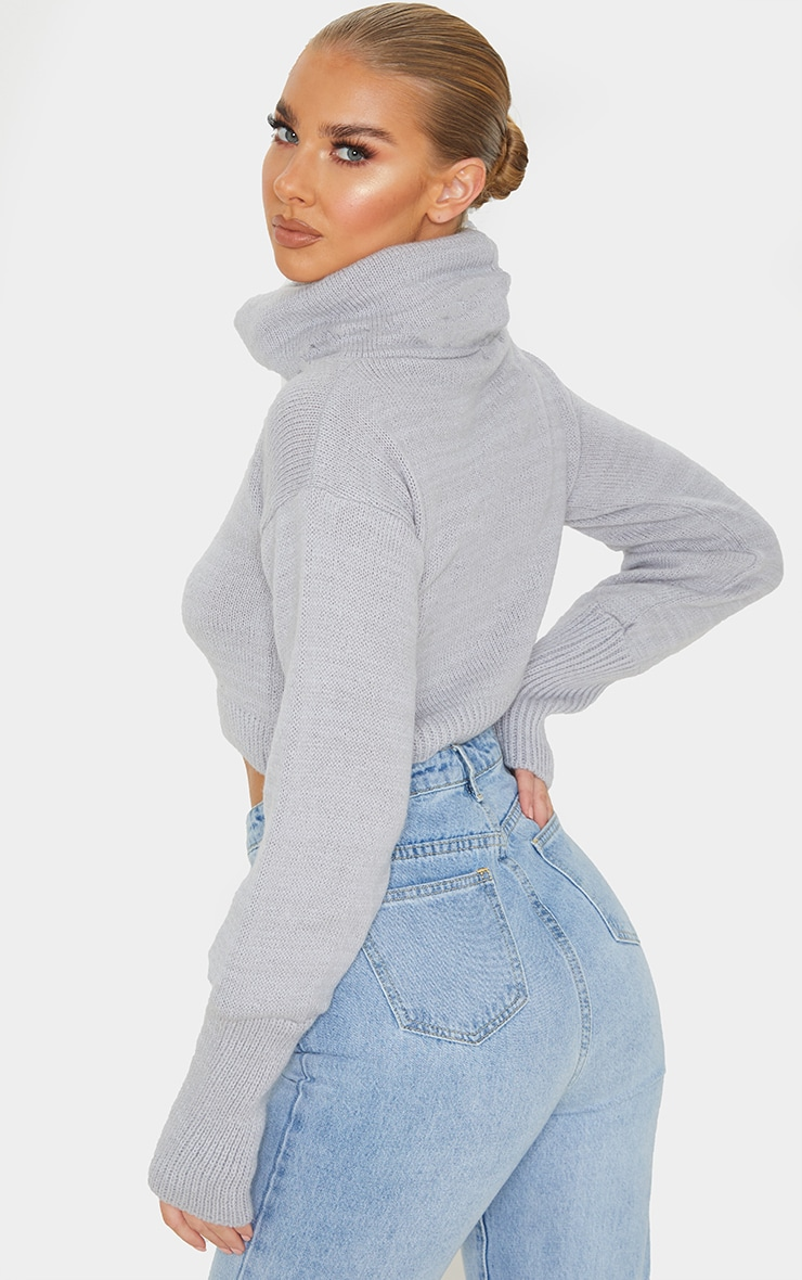 Grey Roll Neck Cropped Sweater 2