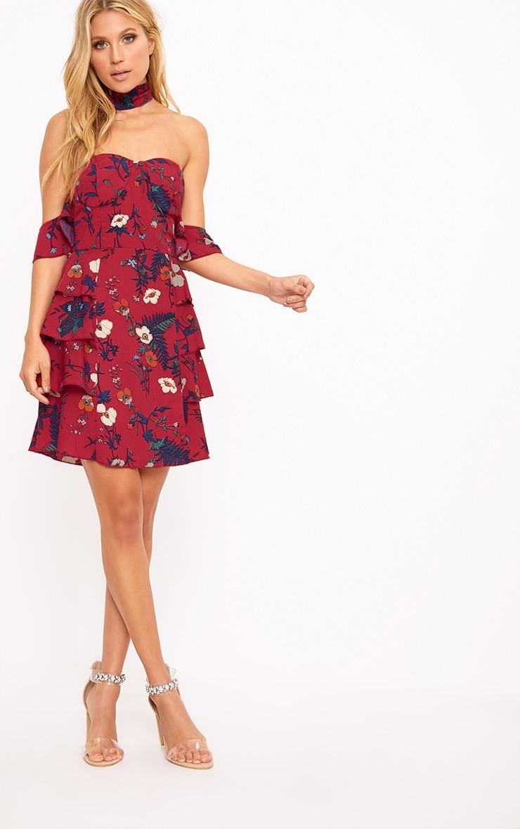 Burgundy Ruffle Layer Bardot Bodycon Dress 5