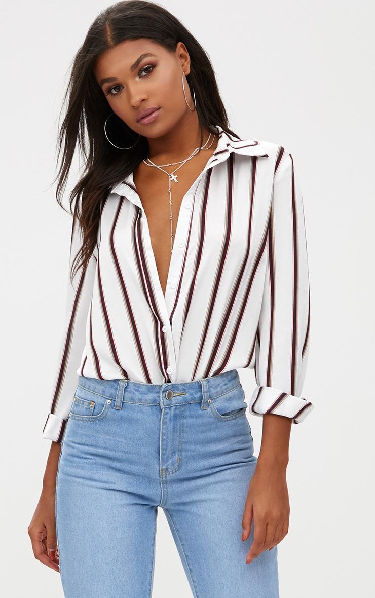 White Satin Stripe Shirt 2