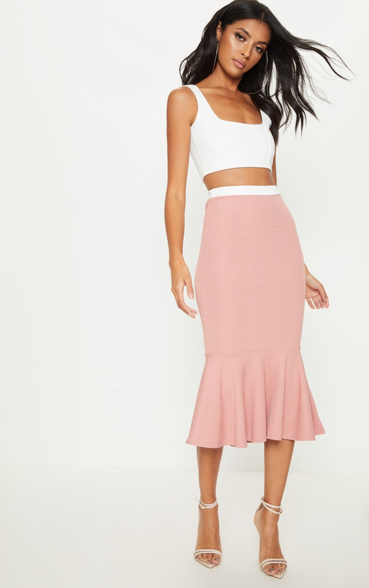 Dusty Pink Bandage Fishtail Midi Skirt 1